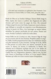 Paroles de dieu ; réflexions sur quelques textes secrets - 4ème de couverture - Format classique