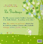 Le printemps - 4ème de couverture - Format classique