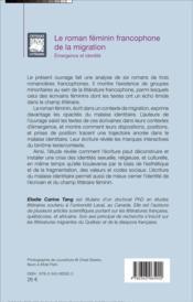 Le roman feminin francophone de la migration ; émergence et identité - 4ème de couverture - Format classique