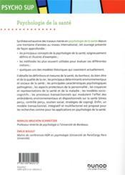 Psychologie de la santé : concepts, méthodes et modèles (2e édition) - 4ème de couverture - Format classique