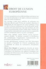 Droit de l'union européenne - 4ème de couverture - Format classique