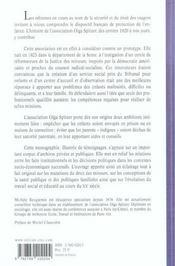 Protection de l'enfance ; l'action de l'association Olga Spitzer - 4ème de couverture - Format classique