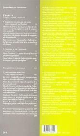 L Adjectif En Francais Et A Travers Les Langues - 4ème de couverture - Format classique