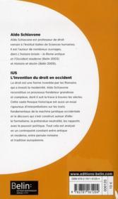 IUS ; l'invention du droit en Occident - 4ème de couverture - Format classique