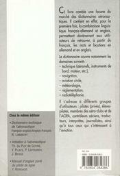 Dictionnaire de l'aeronautique - 4ème de couverture - Format classique