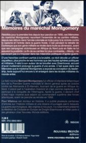 Mémoires du Maréchal Montgomery - 4ème de couverture - Format classique