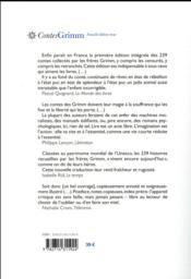 Contes de Grimm (en 1 volume) - 4ème de couverture - Format classique