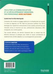 Faciliter la communication et le développement sensoriel des personnes avec autisme - 4ème de couverture - Format classique