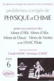 Problemes Corriges De Physique Chimie Mines Albi Ales Douai Nantes Enac Pilotes Tome 6 1999-2001 - Intérieur - Format classique