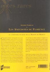 Les anecdotes de florence ou l'histoire secrete de la maison de medicis - 4ème de couverture - Format classique