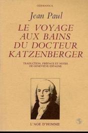 Le voyage aux bains du docteur Katzenberger - Couverture - Format classique