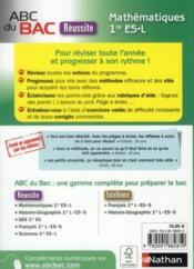Abc Du Bac Reussite ; Maths ; 1ère Es/L - 4ème de couverture - Format classique