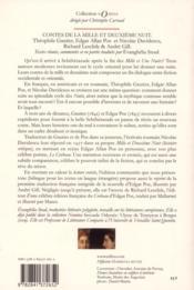 Contes de la mille et deuxième nuit ; Théophile Gautier, Edgar Allan Poe et Nicolae Davidescu - 4ème de couverture - Format classique