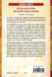 Les grands arrêts de la procédure pénale (7e édition) - 4ème de couverture - Format classique