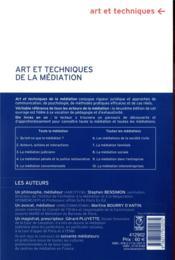 Arts et techniques de la médiation (2e édition) - 4ème de couverture - Format classique