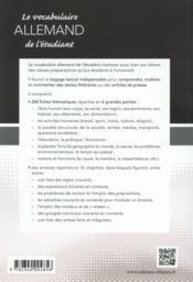 Le vocabulaire allemand de l'étudiant ; l'essentiel du vocabulaire contemporain en 260 fiches thématiques - 4ème de couverture - Format classique