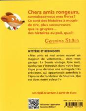 Geronimo Stilton T.95 ; mystère et redingote - 4ème de couverture - Format classique