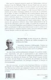 La Defense De L'Inde ; Edition 2001 - 4ème de couverture - Format classique