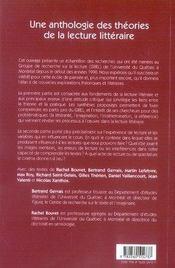 Théories et pratiques de la lecture littéraire - 4ème de couverture - Format classique