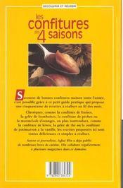 Les Confitures Des 4 Saisons - 4ème de couverture - Format classique
