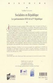 Socialistes en republique les parlementaires sfio de la ive republique - 4ème de couverture - Format classique