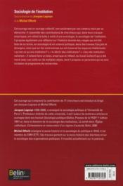 Sociologie de l'institution - 4ème de couverture - Format classique