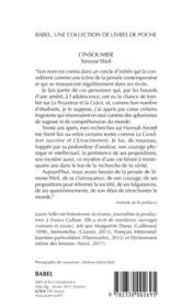 L'insoumise : Simone Weil - 4ème de couverture - Format classique