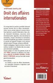Droit des affaires internationales (5e édition) - 4ème de couverture - Format classique
