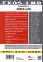 Exercices corrigés de fiscalité 2012-2013 (14e édition) - 4ème de couverture - Format classique