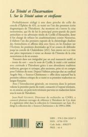 La trinite et l'incarnation - tome 1 la trinite - 4ème de couverture - Format classique