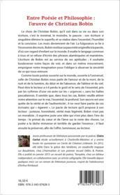Entre poésie et philosophie : l'oeuvre de Christian Bobin - Couverture - Format classique