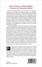 Entre poésie et philosophie : l'oeuvre de Christian Bobin - 4ème de couverture - Format classique