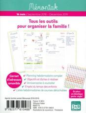Agenda familial Mémoniak pocket (édition 2018/2019) - 4ème de couverture - Format classique