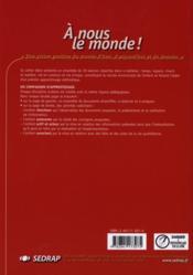 A Nous Le Monde ; Fichier De L'Eleve - Couverture - Format classique
