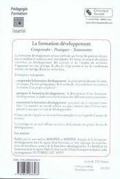 Formation-développement ; comprendre, pratiquer, transmettre - 4ème de couverture - Format classique