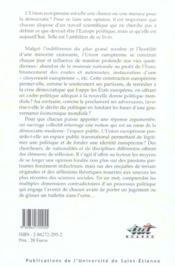 L'Europe Qui Se Construit ; Reflexions Sur L'Espace Public Europeen - 4ème de couverture - Format classique