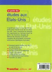 Le Guide Des Etudes Aux Etats-Unis 01 - 4ème de couverture - Format classique
