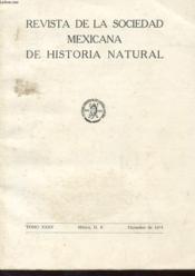 Revista De La Sociedad Mexicana De Historia Natural Tome Xxxv - Couverture - Format classique