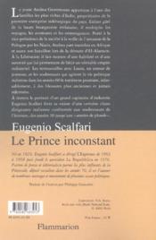 Le Prince Inconstant - 4ème de couverture - Format classique