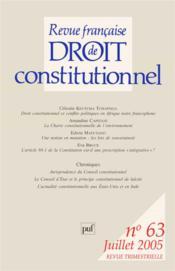 Revue Francaise De Droit Constitutionnel N.63 - Couverture - Format classique