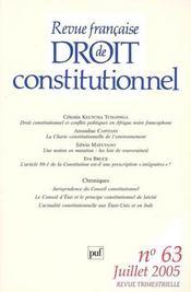 Revue Francaise De Droit Constitutionnel N.63 - Intérieur - Format classique
