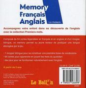 Memory Premiers Mots De La Maison - 4ème de couverture - Format classique