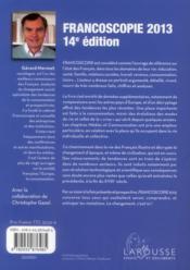 Francoscopie 2013 - 4ème de couverture - Format classique