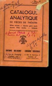 Catalogue Analytique De Pieces De Theatre. - Couverture - Format classique