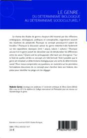 Le genre ; du déterminisme biologique au déterminisme socioculturel ? - Couverture - Format classique