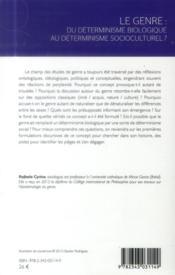 Le genre ; du déterminisme biologique au déterminisme socioculturel ? - 4ème de couverture - Format classique