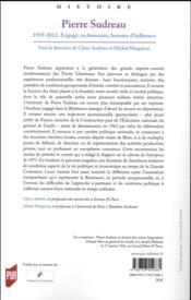Pierre Sudreau ; 1919-2012 engagé, technocrate, homme d'influence - 4ème de couverture - Format classique