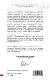 Les études francaises et les humanités dans la mondialisation - 4ème de couverture - Format classique