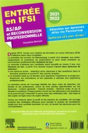 Entrée en IFSI ; AS/AP et reconversion professionnelle (édition 2021/2022) - 4ème de couverture - Format classique