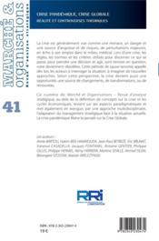 MARCHE ET ORGANISATIONS N.41 ; crise pandémique, crise globale : réalité et controverses théoriques - 4ème de couverture - Format classique